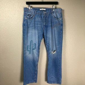 Zara Trafaluc - Embroidered Boyfriend Jeans s:08